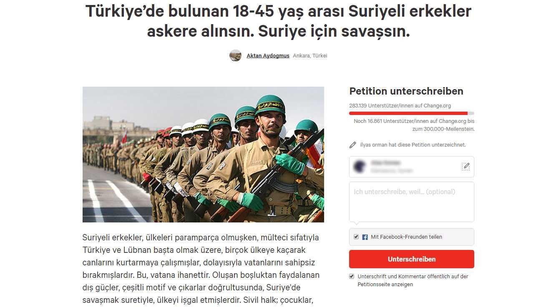 الأتراك يجمعون 283.139 ألف توقيع من أجل تجنييد السوريين والحملة مستمرة