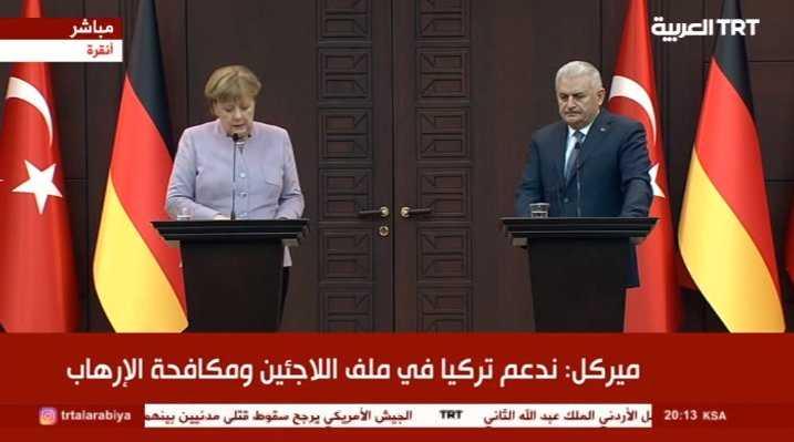 مؤتمر صحفي لرئيس الوزراء بن علي يلدريم والمستشارة الألمانية أنجيلا ميركل في العاصمة أنقرة