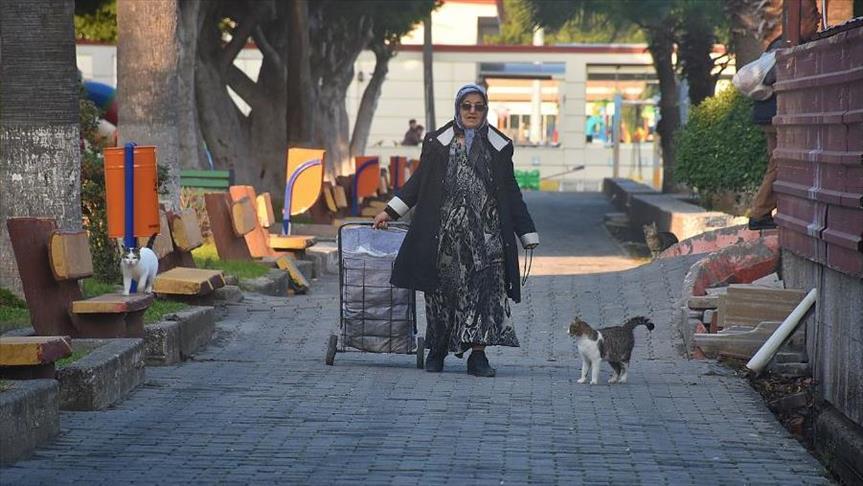 سيدة تركية تطعم الحيوانات والطيور منذ 30 عاما